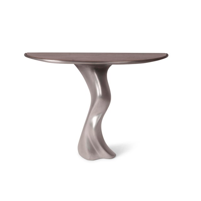 Haya Console -Stainless Steel With Antique Gray Walnut Top For Sale - Image 9 of 9