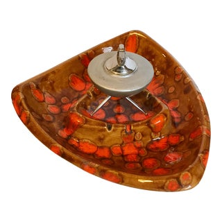 Mid-Century Sputnik Table Lighter and Ceramic Ashtray For Sale