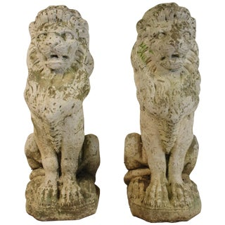 Pair of 1940s Concrete Lions For Sale