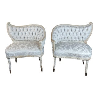French Provincial Blue Upholstered Asymmetrical Bergeres Chairs-A Pair For Sale