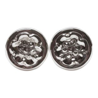 Mercury Glass Tiebacks With a Nickel Base - A Pair For Sale