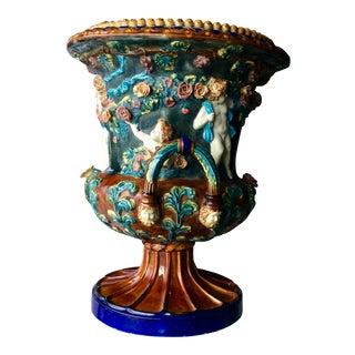 19th Century Antique Italian Majolica Urn For Sale