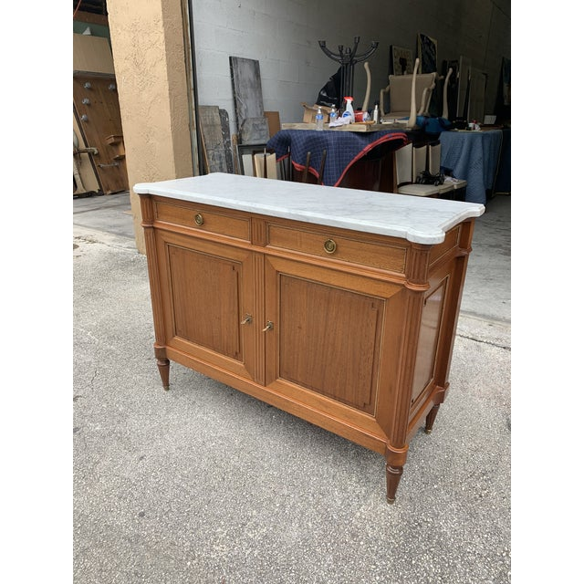 1910s French Louis XVI Antique Mahogany Sideboard For Sale - Image 4 of 13