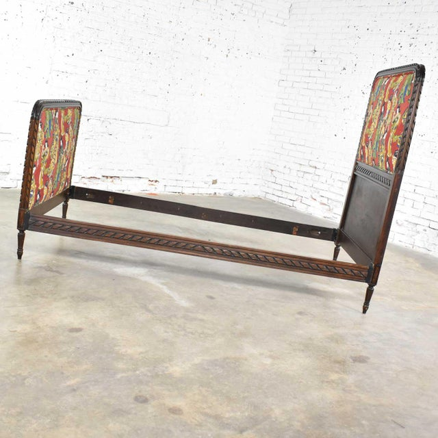 19th Century Antique French Carved Walnut and Upholstered Twin Bed With Asian Figural Fabric For Sale - Image 5 of 13