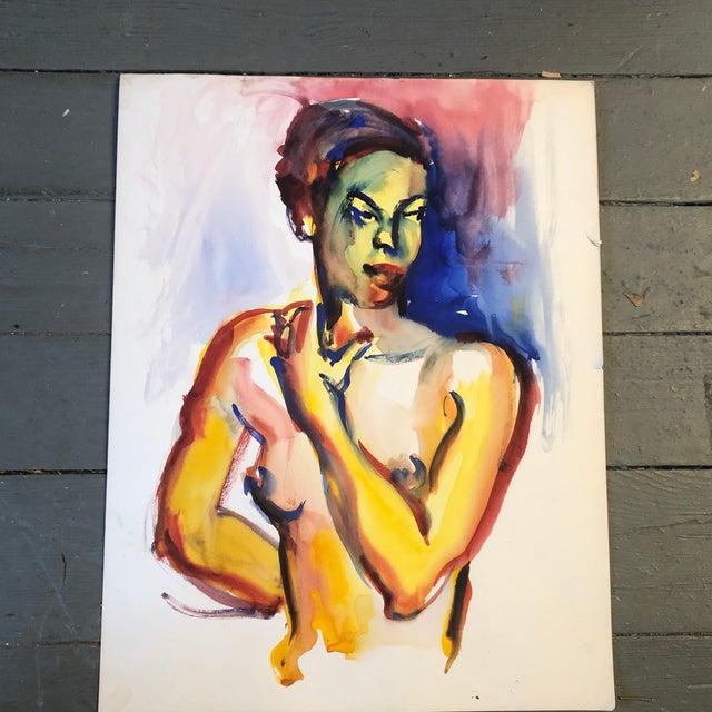 Original Vintage Female Nude Portrait Watercolor Painting 1970's For Sale In Philadelphia - Image 6 of 6