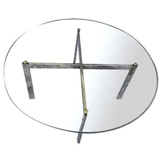 Barcelona Mid-Century Modern Round Glass Top Coffee Table For Sale