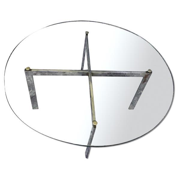 Barcelona Mid-Century Modern Round Glass Top Coffee Table - Image 1 of 7