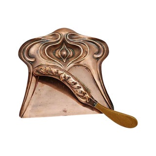 Art Nouveau Copper Silent Butler Crumb Sweeper & Tray