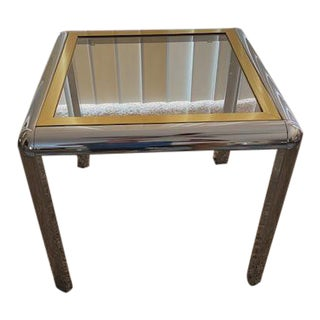 Pace Collection Chrome & Brass Accent Table For Sale