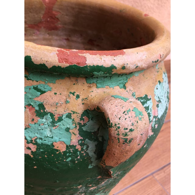 Late 19th Century French 19th Century Green-Glazed Castelnaudary Pot or Planter With Handles For Sale - Image 5 of 8