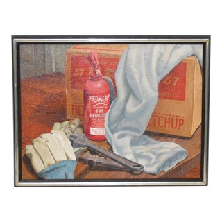 """John T. Axton III (1922-2009) """"Work Bench"""" Original Realism Still Life Oil Painting For Sale"""