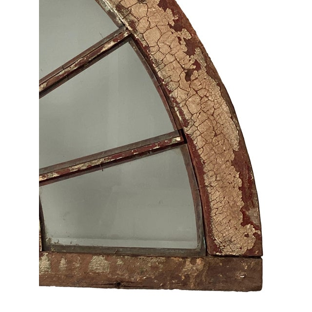 White Rustic Half Round Distressed Wood Window For Sale - Image 8 of 12