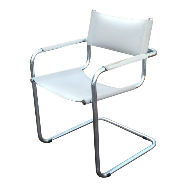 Vintage Mart Stam Breuer Style Tubular Chrome & Gray Leather Chair - Image 1 of 11