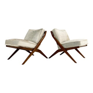 Folke Ohlsson Scissor Chairs With Brazilian Cowhide Cushions, Pair For Sale