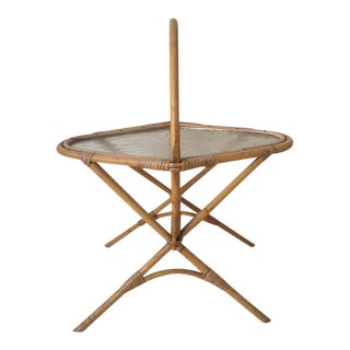 Small Vintage Rattan and Glass Side Table, Planter, 1960s