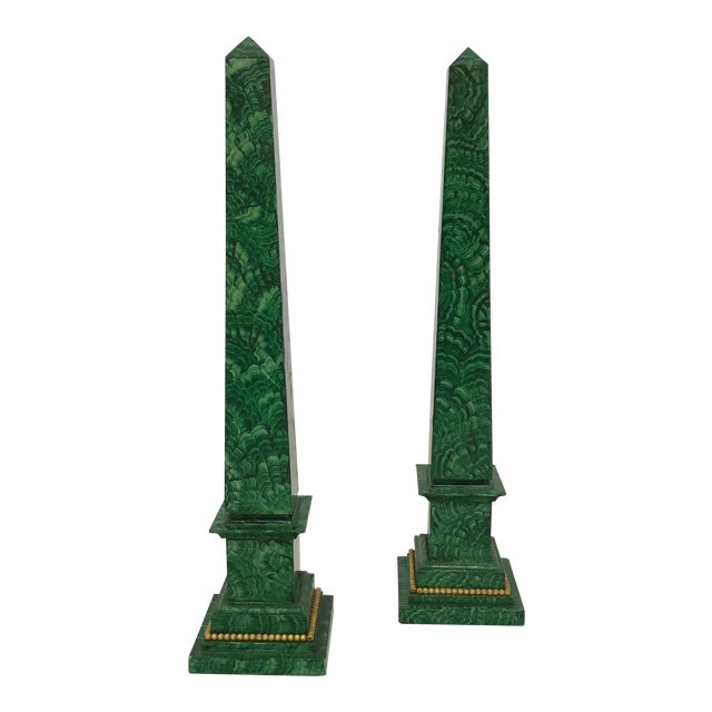 Faux Painted Malachite Obelisks - a Pair - Image 1 of 6