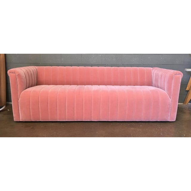Blush Mohair Channeled Sofa - Image 2 of 5