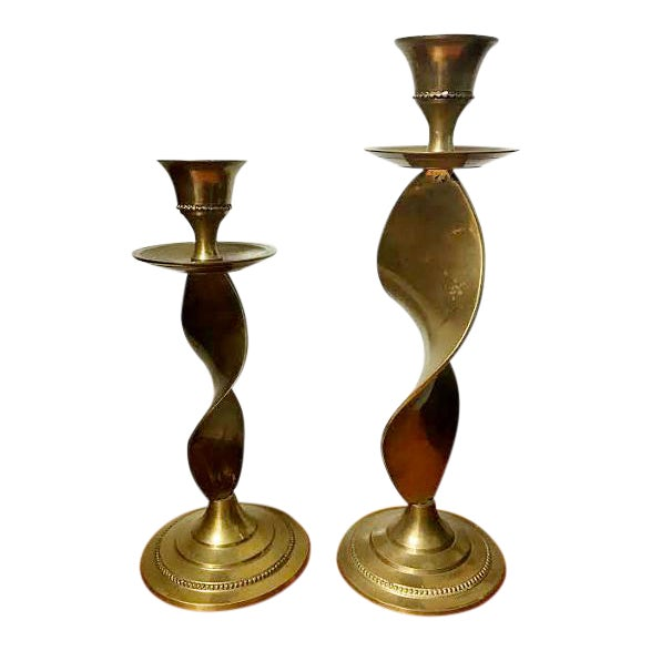 Pair of Antique Twisted Brass Candle Holders For Sale