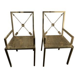 1970s Vintage Neoclassical Brass Chairs by Mastercraft- A Pair For Sale