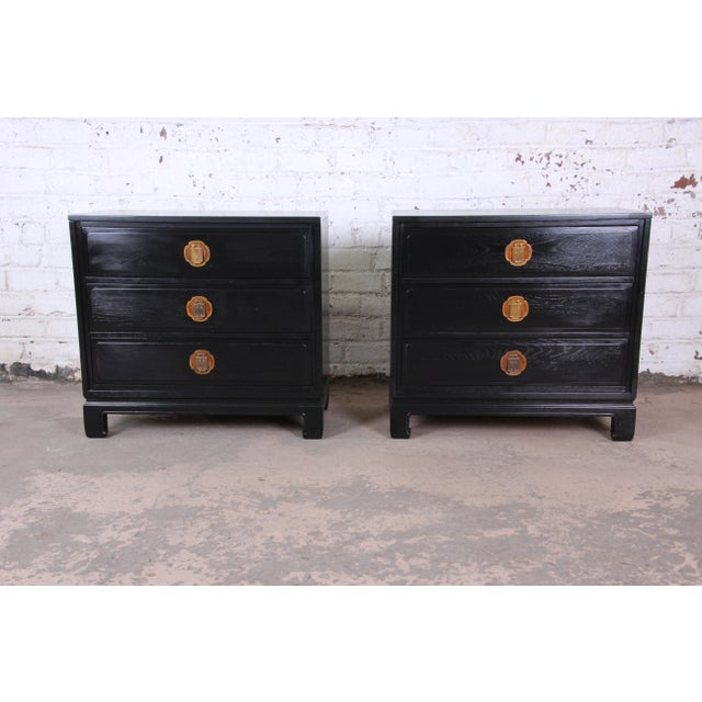 Ebonized Hollywood Regency Chinoiserie Large Nightstands or Bachelor Chests by Davis Cabinet Co., Pair For Sale - Image 10 of 10