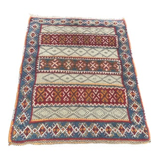 "Vintage Moroccon Kilim Wool Rug - 2'8"" X 3'5"" For Sale"