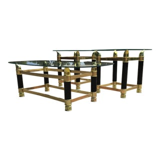 Italian Faux Tusk Brass & Glass Coffee & Side Tables - 3 Piece Set For Sale