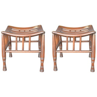 Pair of Wooden Thebes Stools For Sale