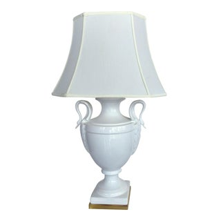 Paul Hanson Table Lamp With Swan Handles For Sale