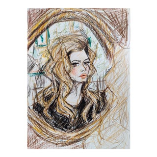 Color Pencil Potrait of 70s Icon Brigette Bardot on A4 Hahnemuhle Paper by Shirin Godhrawala, 2020 For Sale