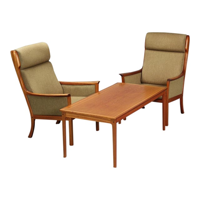 1960s Danish Modern Ole Wanscher for P. Jeppesen Mahogany Armchairs and Coffee Table - 3 Pieces For Sale