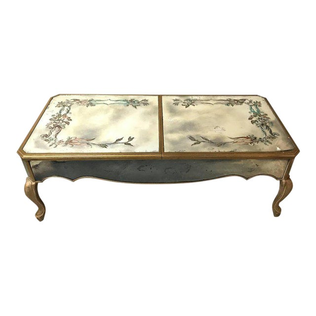 Hollywood Regency Italian Paint Decorated Sliding Mirror Top Coffee Low Table For Sale