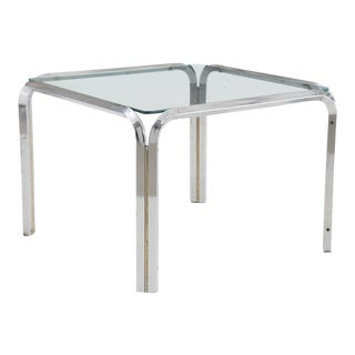 Mid-Century Modern Large Square Chrome and Glass Side Table