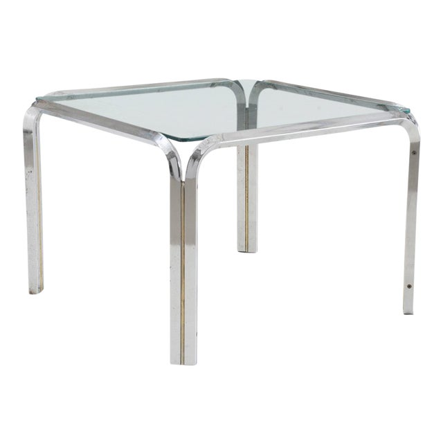 Mid Century Modern Large Square Chrome And Glass Side Table For