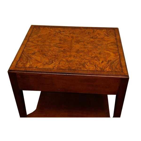 """Very nice burl walnut Mid-Century Modern side table , great condition. Interior drawer marked """"Southampton""""."""