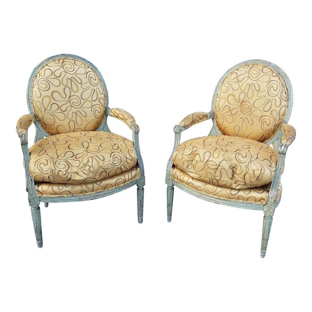 Mid 18th Century Antique French Louis XVI Medallion Chairs - A Pair For Sale