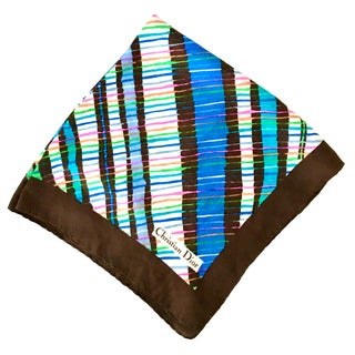 1970's Christian Dior Geometric Stripe Silk Scarf For Sale