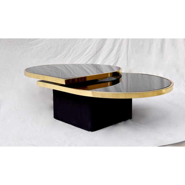 Swivel Brass & Black Glass Cocktail Table by Design Institute of America For Sale - Image 12 of 13