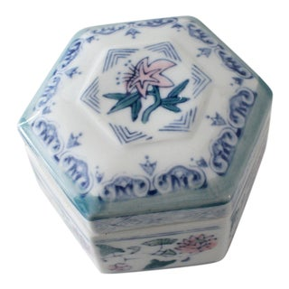 Blue, Pink and Green Floral Hexagon Ceramic Trinket Box For Sale