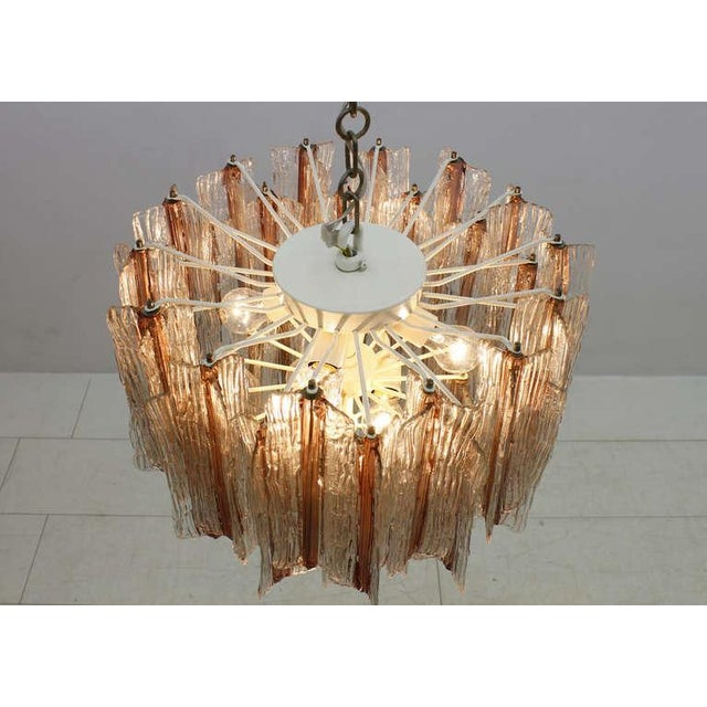 1960s Large Pink and White Venini Murano Chandelier by Toni Zuccheri, 1960s For Sale - Image 5 of 11