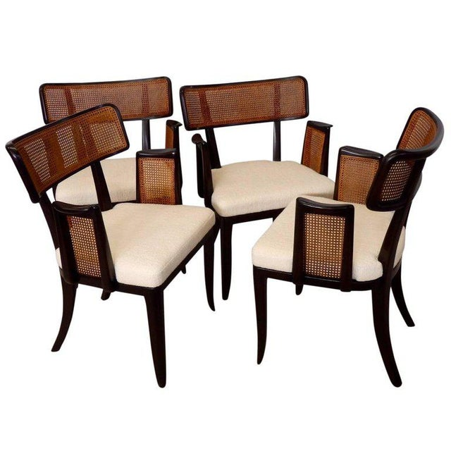 Caning Four Edward Wormley for Dunbar Dining Chairs For Sale - Image 7 of 7