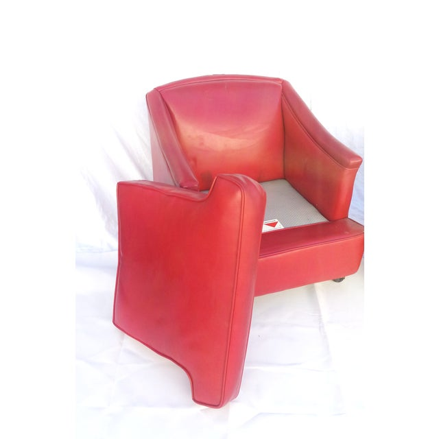 Lipstick Red Vinyl Club Chairs - A Pair For Sale In Sacramento - Image 6 of 11