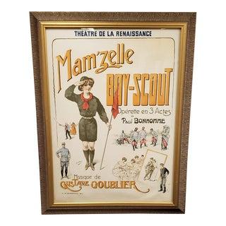 Signed Original H. Gray Framed Mam'Zelle Boy-Scout Opera Poster 1915 Theatre De La Renaissance For Sale