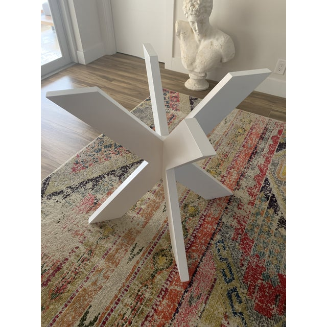 2010s White Lacquer X Table Base For Sale - Image 5 of 13