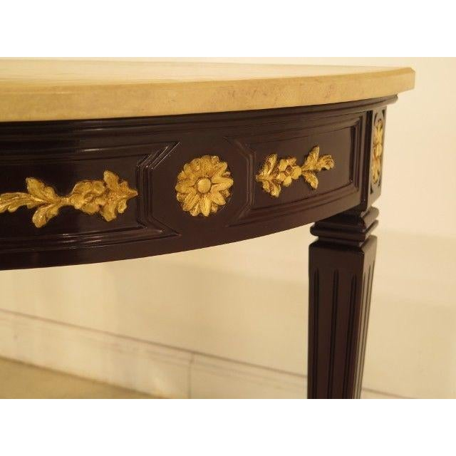 F28563: Regency 1/2 Round Console Table w. Faux Marble Top Age: Approx: 50 Years Old Details: Quality Construction Faux...
