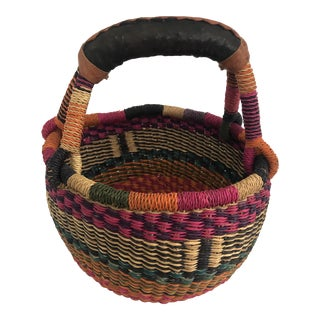 Colorful Handmade African Bolga Market Basket For Sale