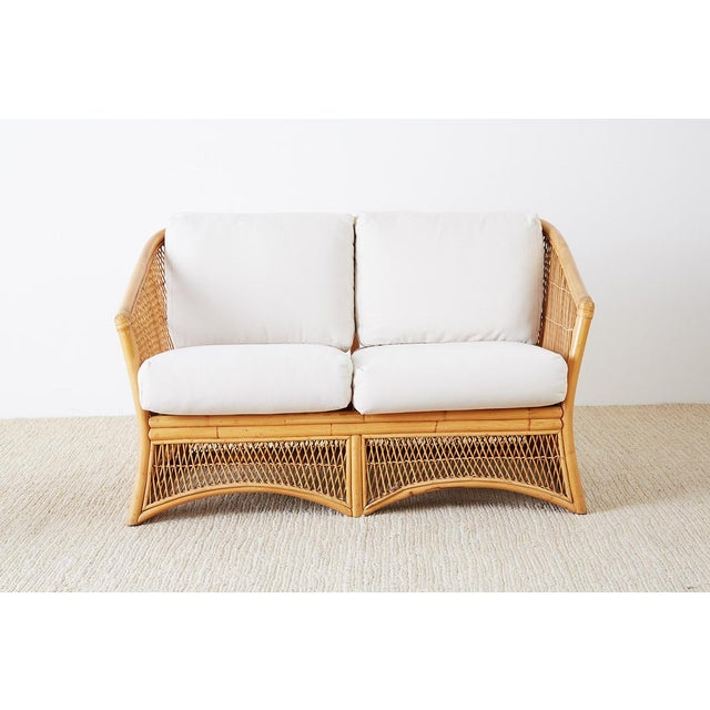 Hollywood Regency Midcentury Bamboo Rattan Wicker Settee or Loveseat For Sale - Image 3 of 13