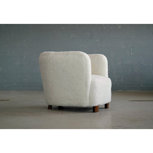 White Viggo Boesen Style Lounge Chair Covered in Lambswool by Slagelse Mobelvaerk For Sale - Image 8 of 9