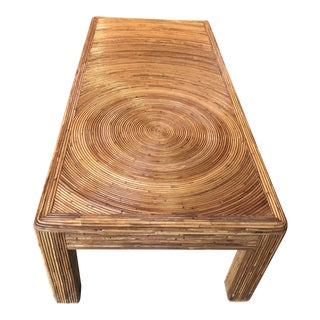 1970s Boho Chic Pencil Reed Coffee Table For Sale