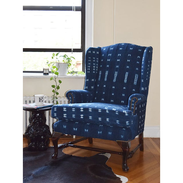 Indigo Mali Mudcloth Wingback Chair - Image 9 of 9