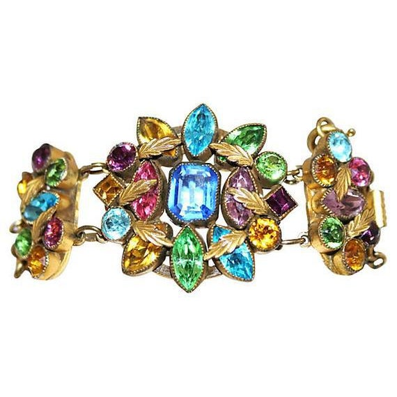 Czech Multicolor Faceted Stone Bracelet For Sale In Los Angeles - Image 6 of 7